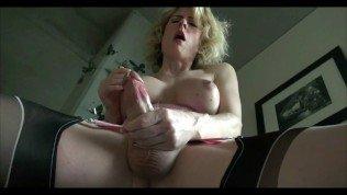 Blonde tranny ejaculates and tastes