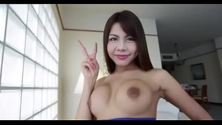 Hawt looking asian ladyboy gets asshole stretched rough