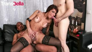 Mature Shemale Rides Cock And Sucks Another