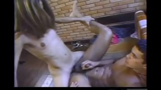Ripped young stud gets his ass pounded by gorgeous shemale with a long tool