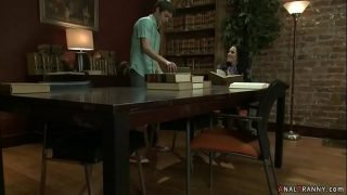Shemale anal fucks young guy in library